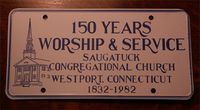 Saugatuck Church 150th anniversary license plate