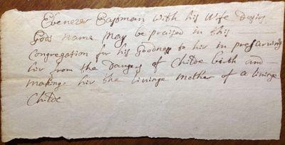 Ebenezer Eastman's declaration of thanks