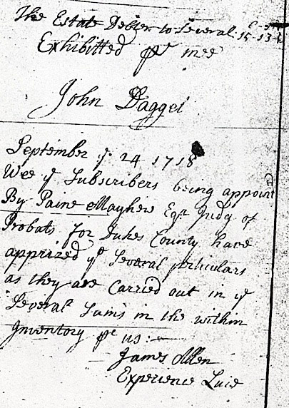 Estate Inventory (1718) of Joseph Daggett