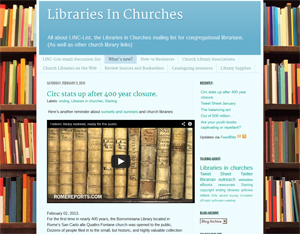 Libraries In Churches blog page