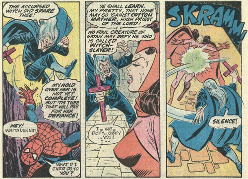 "Cotton ""Witch-Hunter"" Mather smites Spidey and Scarlet Witch"