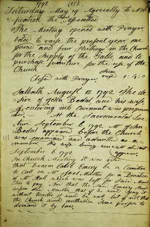 page from the Sanford church records
