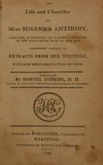 "title page of ""The Life and Character of Miss Susanna Anthony"" (1799)"