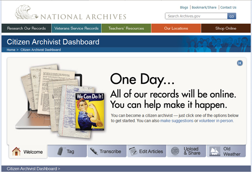 NARA Citizen Archivist dashboard