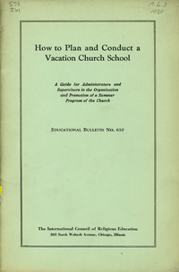 "cover image for ""How to Plan and Conduct a Vacation Church School"""