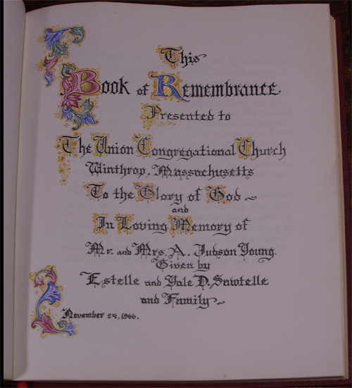 "title page from the Winthrop Union ""Book of Remembrance"""